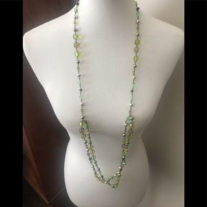 Beautiful green beaded necklace with pearl accents